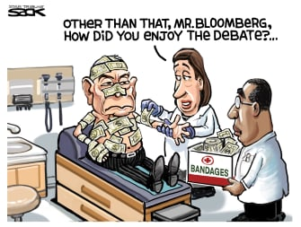 Political Cartoon U.S. Michael Bloomberg Elizabeth Warren DNC democratic debates money in politics bandages beat-up