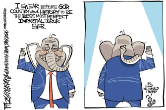 Political Cartoon U.S. GOP Trump impeachment trial