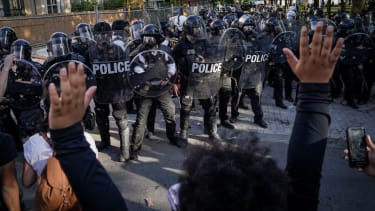 Protesters face police in Washington D.C.