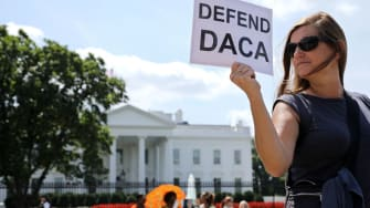 An immigration advocate outside the White House