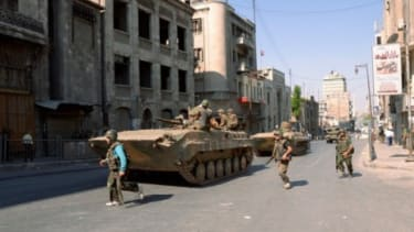Syrian army forces are seen the Aleppo city center