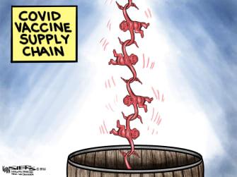 Editorial Cartoon U.S. COVID vaccine supply chain