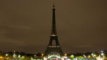 The Eiffel Tower with its lights out.