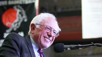 Bernie Sanders jokes about oogling woman at rally.