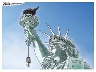 Political Cartoon U.S. Trump Statue of Liberty torch