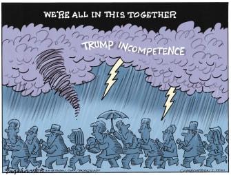 Political Cartoon U.S. Trump COVID-19 disasters crowd incompetence