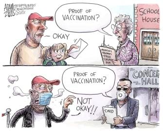 Editorial Cartoon U.S. covid vaccine passports