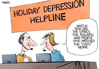 Editorial Cartoon U.S. Holiday Depression Helpline Cats