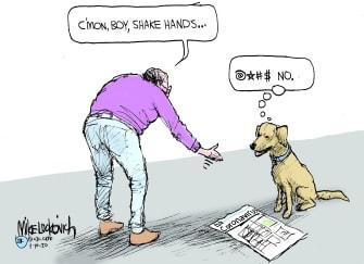 Editorial Cartoon World coronavirus shake hand dog