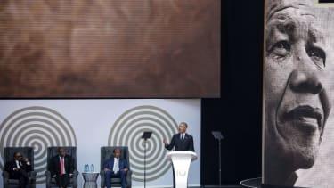 Obama giving Nelson Mandela Lecture.