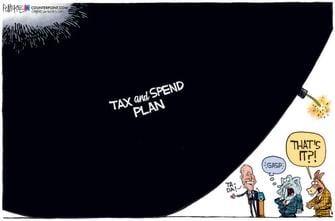 Political Cartoon U.S. biden spending