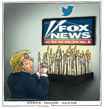 Political Cartoon U.S. Fox News Trump altar
