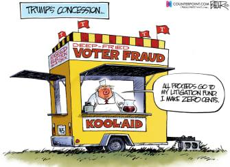 Political Cartoon U.S. Trump concession