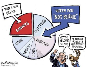 Political Cartoon U.S. Bernie Sanders Pete Buttigieg Democrats 2020 primaries socialists frontrunner
