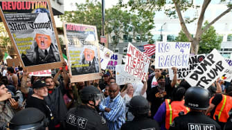 Protesters outside a Trump rally in San Jose, California, last week.