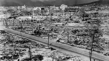 Atomic bomb damage in Hiroshima, 1945.
