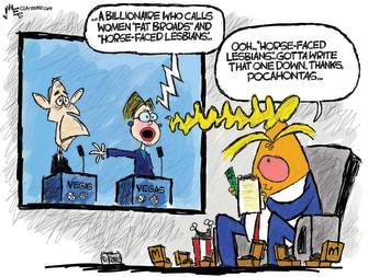 Political Cartoon U.S. Warren Bloomberg fat broads horse face Trump elite snub Pocahontas