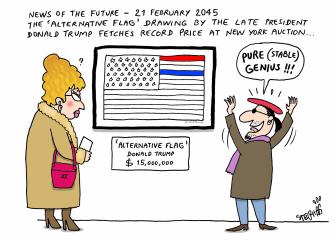 Political cartoon U.S. flag Trump wrong colors alternative facts stable genius