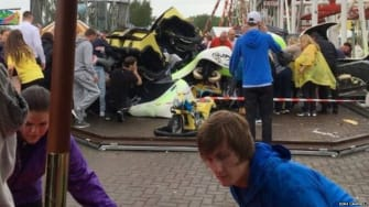 A derailed gondola from the Tsunami rollercoaster at the M&D theme park in Scotland.