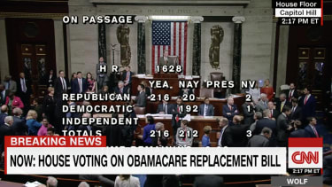 Democrats sing to Republicans as the House bill passes.