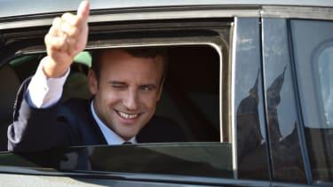 French President Emmanuel Macron in his car