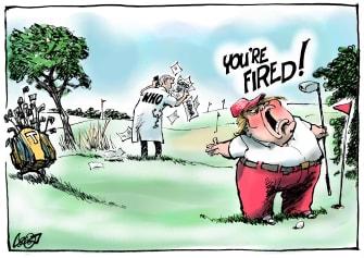 Political Cartoon U.S. Trump golfing blames club WHO on coronavirus spreading