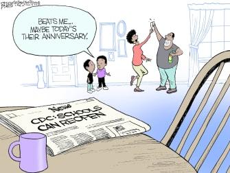 Editorial Cartoon U.S. CDC covid school reopenings
