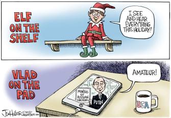 Political Cartoon U.S. Putin hacking Russia elf on the shelf