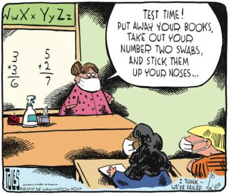 Editorial Cartoon U.S. school covid test