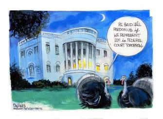 Political Cartoon U.S. Trump Thanksgiving turkey pardon
