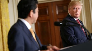 President Trump and Japanese Prime Minister Shinzo Abe at a joint news conference at the White House in February 2017.