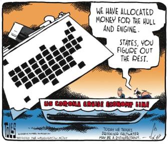 Political Cartoon U.S. little economy lifeline Trump McConnell bankruptcy Trump