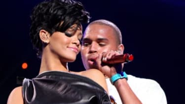 Rihanna and Chris Brown perform in 2008, just months before Brown was arrested for assaulting his then-girlfriend on their way to the 2009 Grammys.