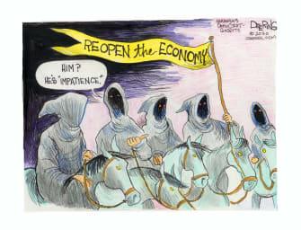 Editorial Cartoon U.S. reopen economy coronavirus