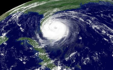 Satellite imagery of a hurricane.