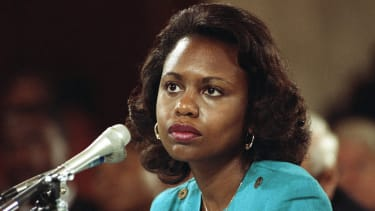 Anita Hill testifies in 1991 that she was sexually harassed by Clarence Thomas.