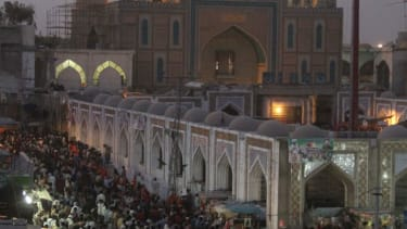 This Sufi shrine of Lal Shahbaz Qalandar in Pakistan was bombed, killing 45.