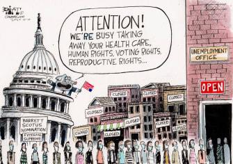 Political Cartoon U.S. GOP Congress COVID unemployment