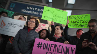 Protesters against United Airlines.