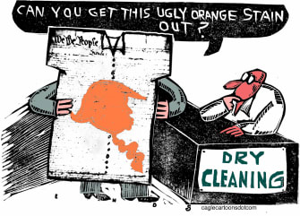 Political Cartoon U.S. Trump stain constitution dry cleaners