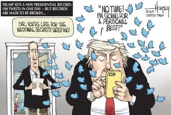 Political Cartoon U.S. Trump Tweet Record