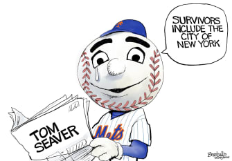 Editorial Cartoon U.S. Mr. Met Tom Seaver RIP