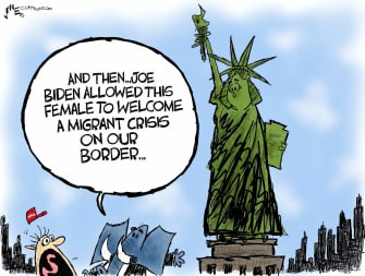 Political Cartoon U.S. gop biden immigration