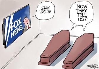 00 Editorial Cartoon U.S. Fox News delays news coronavirus hoax rhetoric