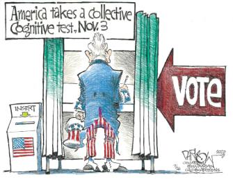 Political Cartoon U.S. 2020 election cognitive test