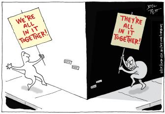 Political Cartoon U.S. Democrats Republicans division