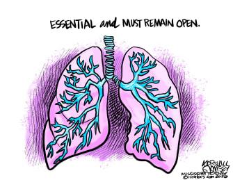Editorial Cartoon U.S. lungs essential must remain open coronavirus