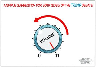 Political Cartoon U.S. Trump impeachment republicans democrats debate