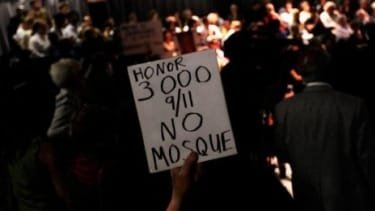 A protester rallies against a mosque to be built near Ground Zero