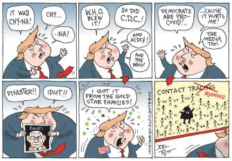 Political Cartoon U.S. Trump COVID